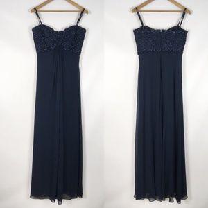 TADASHI | beaded strapless chiffon gown 0217